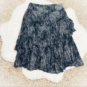 Free People Tiered Blue And White Skirt Size 10